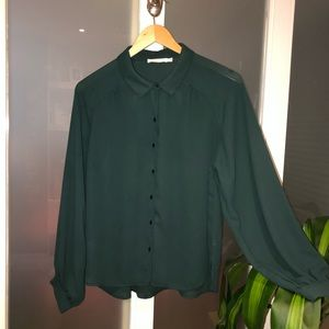 Lush forest green button down blouse